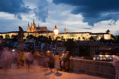 Sunset on Charles bridge Royalty Free Stock Photography