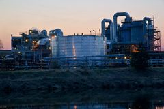 Sunset and chemical plant Royalty Free Stock Photography