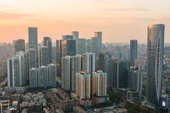 Modern Chengdu. The sunset of chengdu in summer is perfect stock images