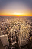 Sunset in Chicago, Illinois. Sun sets in Chicago City Stock Images