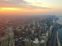Sunset in Chicago. Sunset over the bird view of Chicago Stock Image