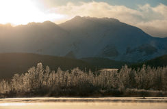 Sunset  Chilkat Valley under a covering of snow Royalty Free Stock Image