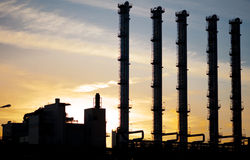 Sunset with chimneys Stock Photography