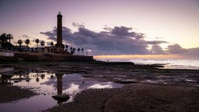 Sunset at Chipiona Lighhouse Cadiz Spain stock footage