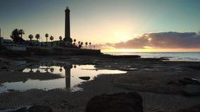 Sunset at Chipiona lighhouse Cadiz Spain stock video