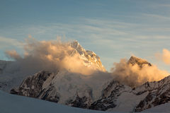 Sunset Cho Oyu. Sunset  from Camp 1 on Cho Oyu Stock Images