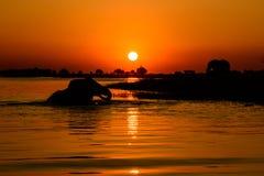 Sunset on the Chobe River. An idyllic African sunset on the Chobe river,Botswana stock photo
