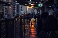 Sunset at Chongnonsri BTS station stock photography