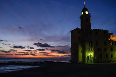 Sunset on the church of  Camogli, Italy Royalty Free Stock Images