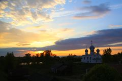 Sunset and church Royalty Free Stock Photos