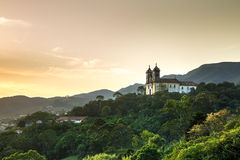 Sunset at Church San Francisco de Paula in Ouro Preto, Minas Gerais, Brazil Royalty Free Stock Images