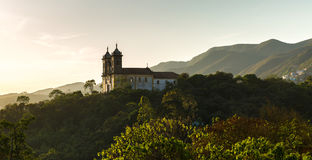 Sunset at Church San Francisco de Paula in Ouro Preto, Minas Gerais, Brazil Royalty Free Stock Photos