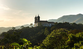 Sunset at Church San Francisco de Paula in Ouro Preto, Minas Gerais, Brazil Stock Photography