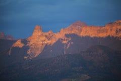 Sunset on Cimarron Mountains, Colorado, USA, near Ridgway Royalty Free Stock Photo