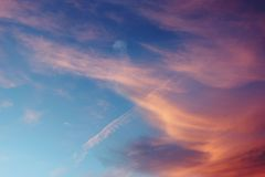Sunset Cirrus Multicolored Clouds Background Royalty Free Stock Photos