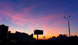 Sunset citiscape of new blocks of Kyiv Royalty Free Stock Photography