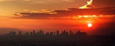 Sunset City. Sunset over Urban Metro Manila Royalty Free Stock Image