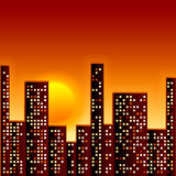 Sunset in city Stock Image