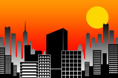 Sunset city Stock Image