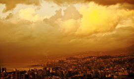 Sunset in the city royalty free stock photography
