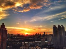 Sunset. In city Stock Photo
