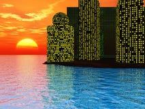 Sunset city Stock Image