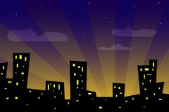 Sunset city. Illustration of city at sunset Royalty Free Stock Photo