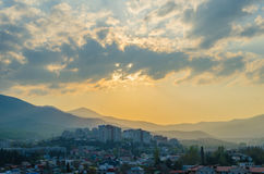 Sunset in the city of Alushta on the background. Sunset in the city of Alushta on the background of the mountains. Crimea Stock Images
