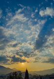 Sunset in the city of Alushta on the background. Royalty Free Stock Images