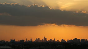 Sunset in city area  Bangkok. Time lapse ,clouds moving with sunset in city area  Bangkok  of Building Silhouette stock video
