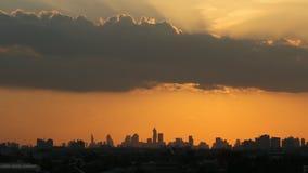 Sunset in city area  Bangkok stock video