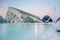 Sunset in City of Arts and Sciences of Valencia Royalty Free Stock Photos