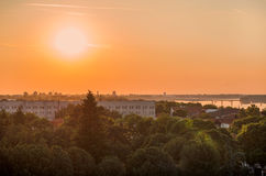 Sunset. In city Belgrade, Serbia royalty free stock images