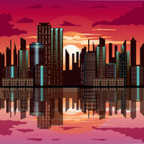Sunset at city with building reflection Royalty Free Stock Photography