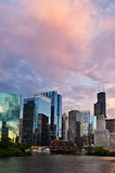 Sunset in the city of Chicago. Stock Photo