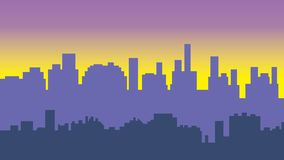 Sunset in the city. Cityscape silhouette sunrise Royalty Free Stock Photo