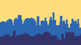 Sunset in the city. Cityscape silhouette sunrise. Vector illustration Stock Photography
