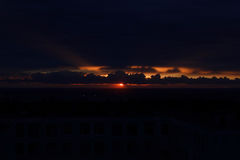 Sunset. In the city with clouds Stock Photo