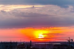 Sunset in the city. royalty free stock photos