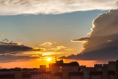 Sunset in the city. stock photo