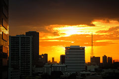 Sunset and city. Sunset in the city  and golden light Stock Photo
