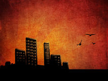 Sunset city grunge background Royalty Free Stock Photography