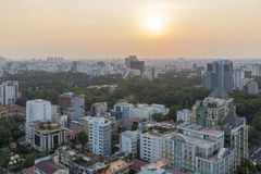 Sunset on city, Ho Chi Minh city. Ho Chi Minh City has the most dynamic economy in Vietnam Stock Photos
