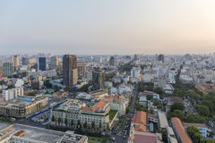 Sunset on city, Ho Chi Minh city. Ho Chi Minh City has the most dynamic economy in Vietnam Stock Image