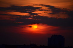 Sunset in the city of Izhevsk. Shot at night from the window Stock Photography