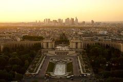 Sunset city landscape. Sunset landscape in Paris city royalty free stock image