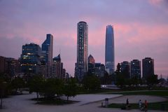 Sunset. city lights and skyscrapers in Chile. Sunset. city lights and skyscrapers in Santiago, Chile stock image