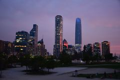 Sunset. city lights and skyscrapers in Chile. Sunset. city lights and skyscrapers in Santiago, Chile stock images