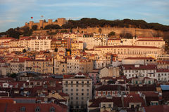Sunset in the City of Lisbon Stock Image