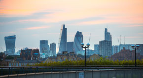 Sunset. City of London view at duck Stock Image